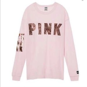 HTF VS PINK Long Sleeve Campus Tee Large